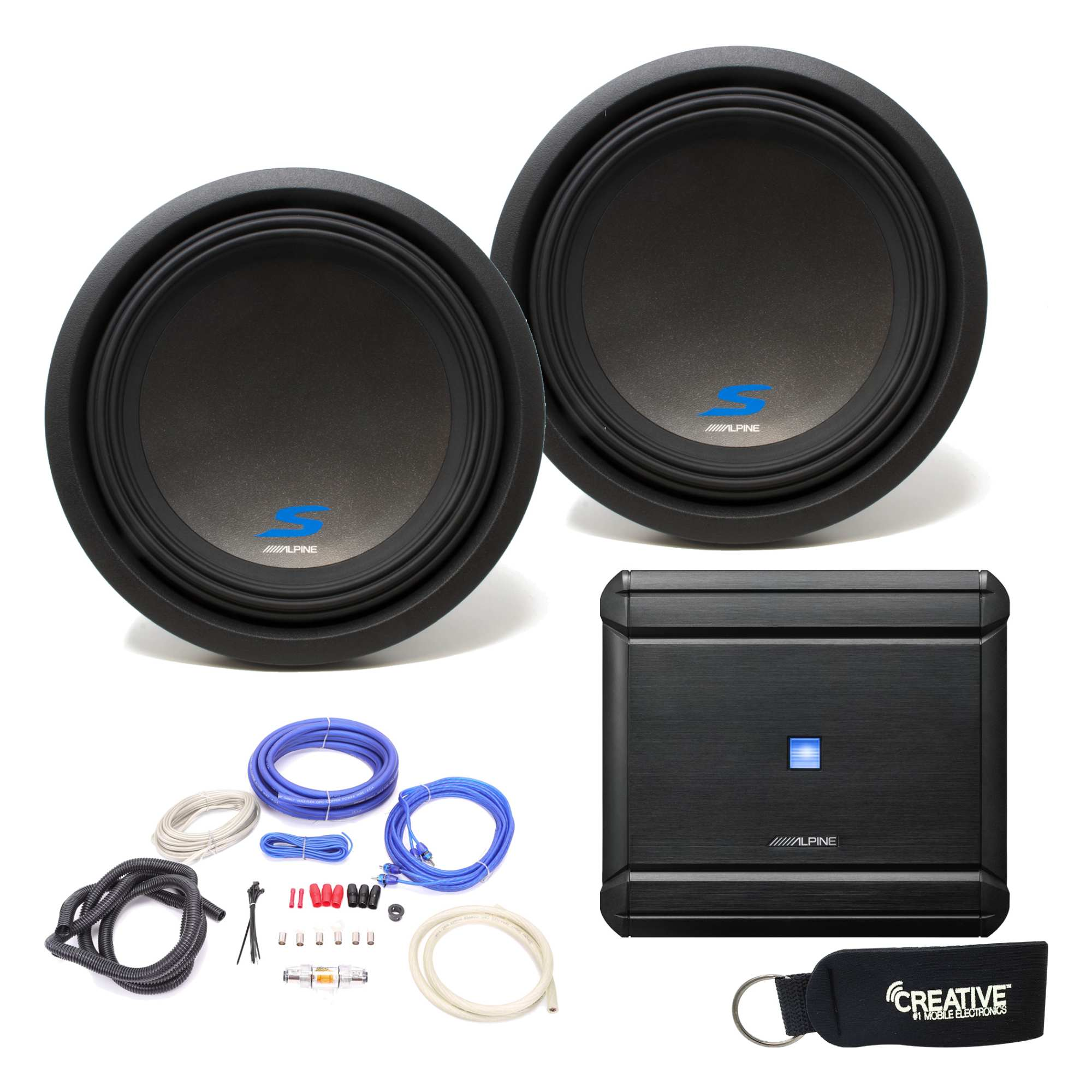 Alpine Mrv M500 Amp And Two S W12d2 Series 12 Dual 2 Ohm Subs Wiring Kit 1600w 4 Channel Digital Bridgeable Amplifier Pro Don T Subwoofers Includes Wire