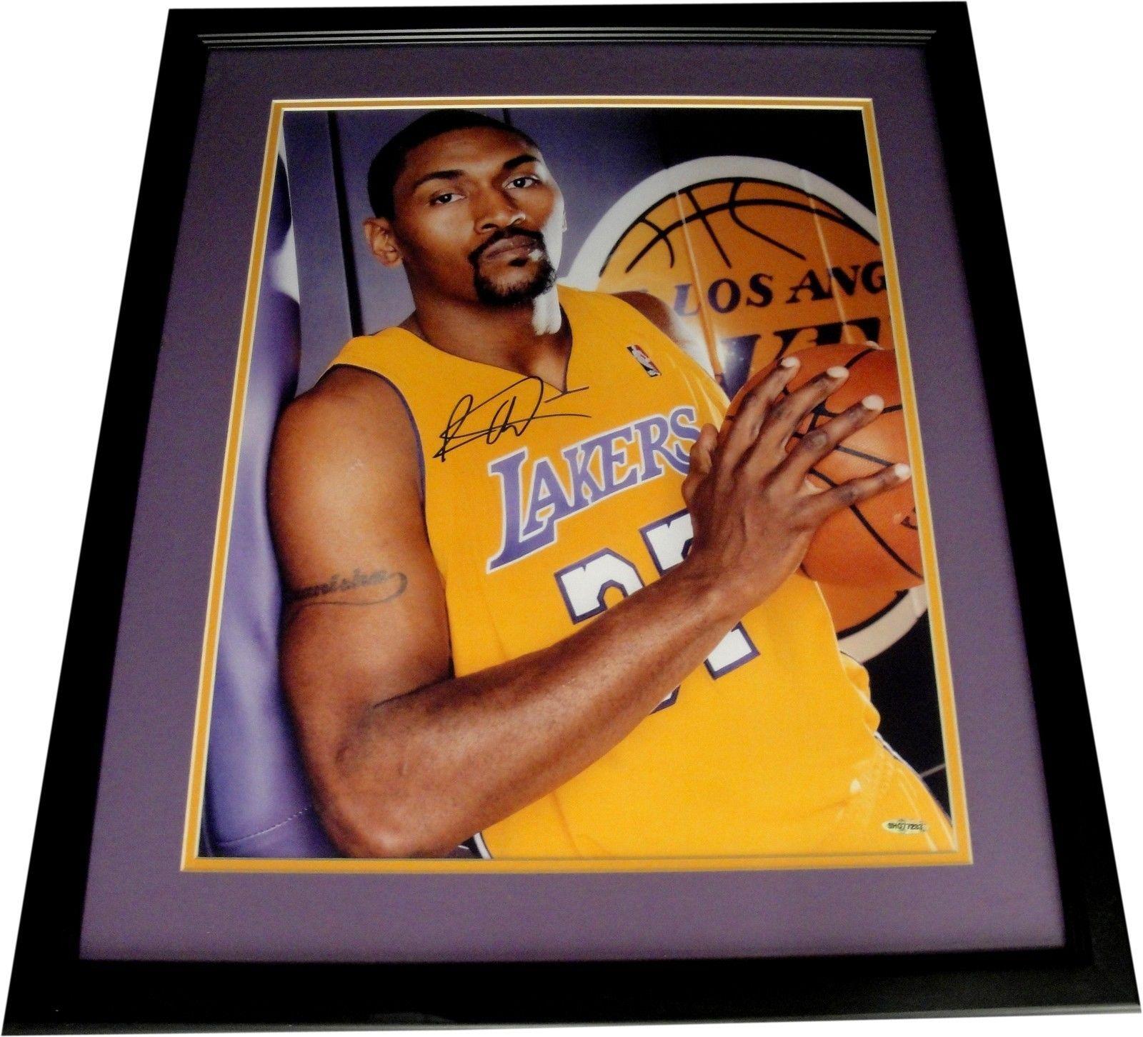 8fde9b133f6e Metta World Peace Signed Autographed 16X20 Photo Custom Framed Ron ...
