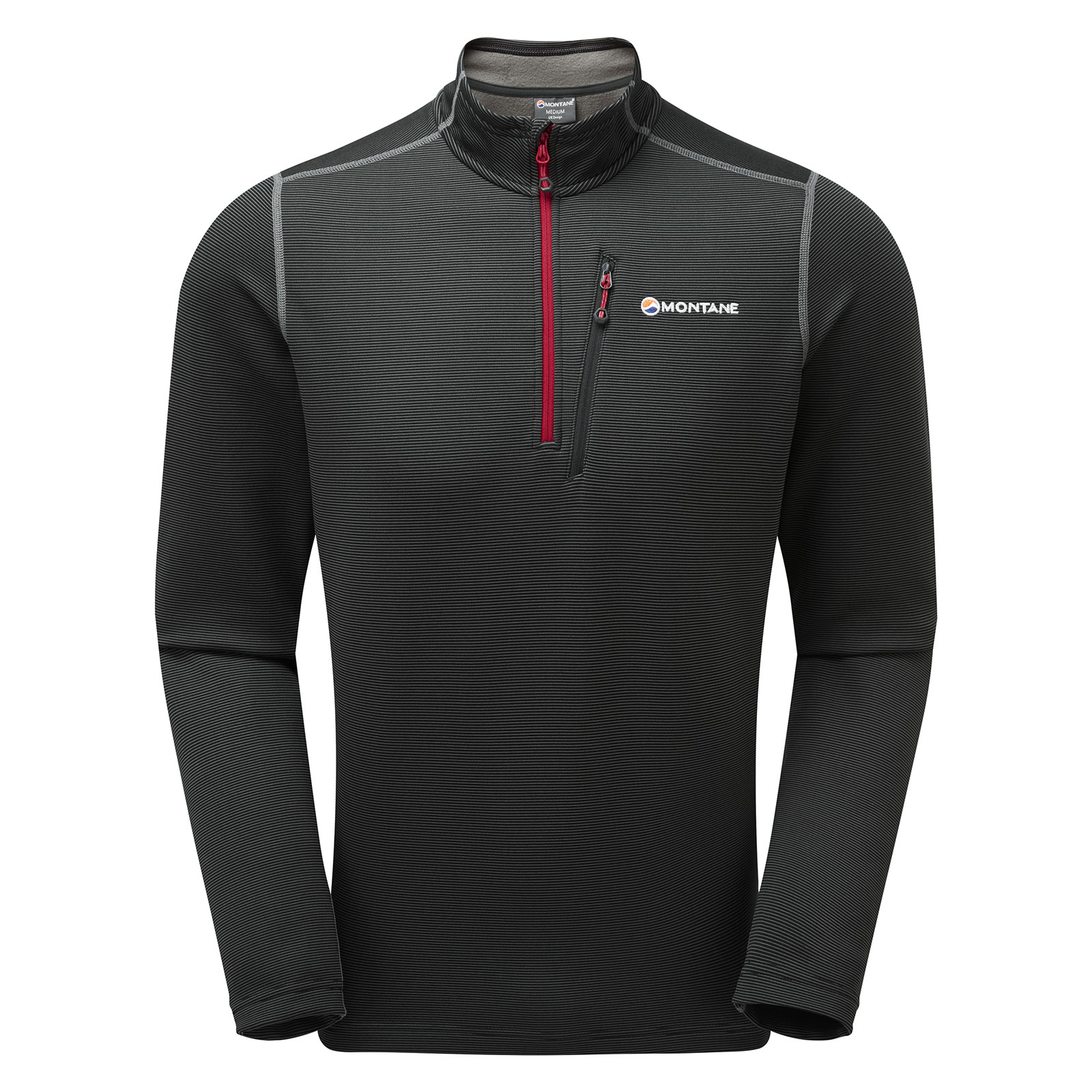 Montane Mens Dragon Pull-On Top Black Sports Running Warm Breathable Reflective
