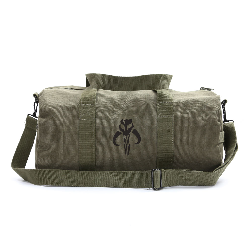 70c671216 Details about Star Wars Mandalorian Skull Boba Fett Sport Canvas Duffel Bag  Olive & Blk Medium
