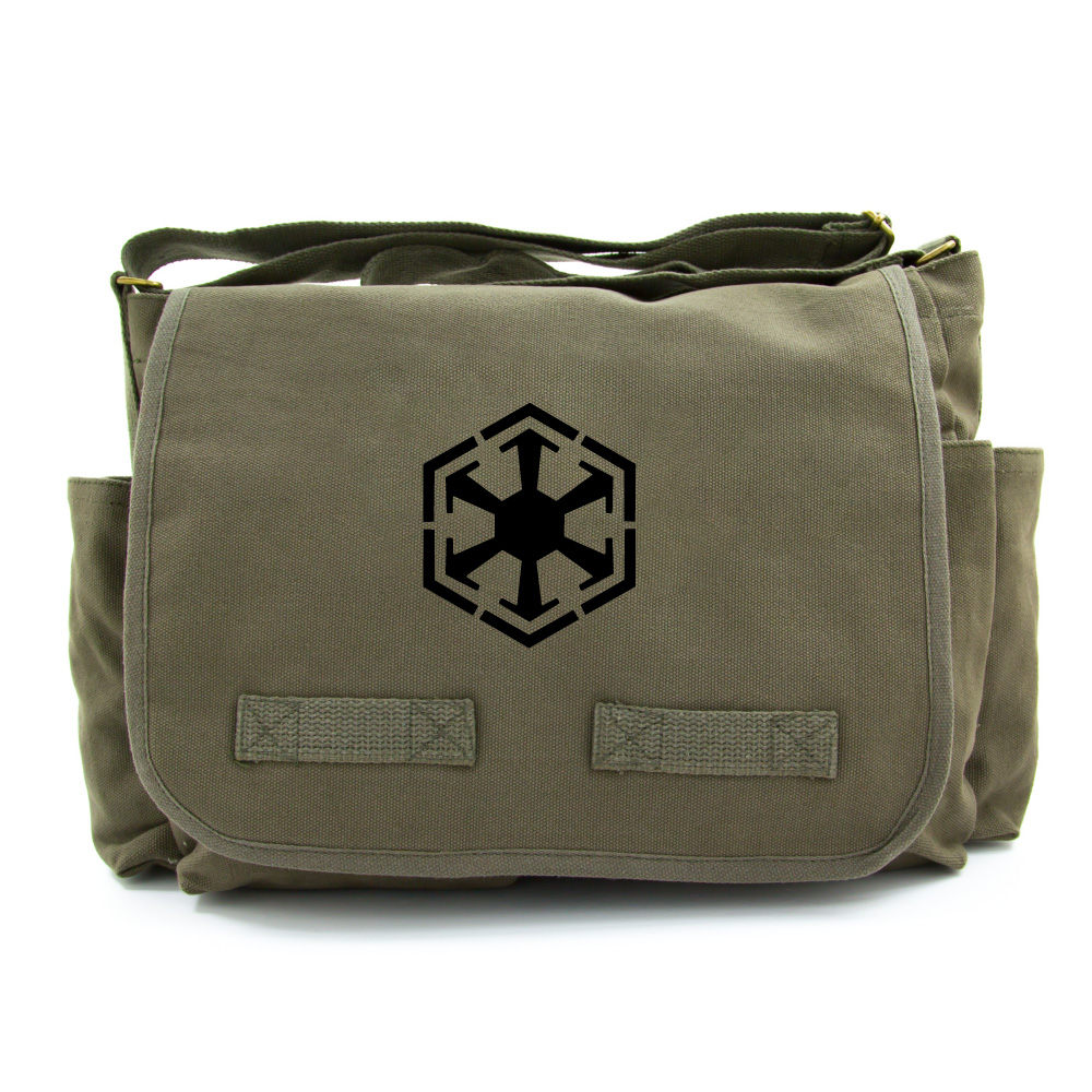 Star Wars Inspired Sith LogoCanvas Messenger Shoulder Bag in Olive   Black 0cd7a1f89dccb