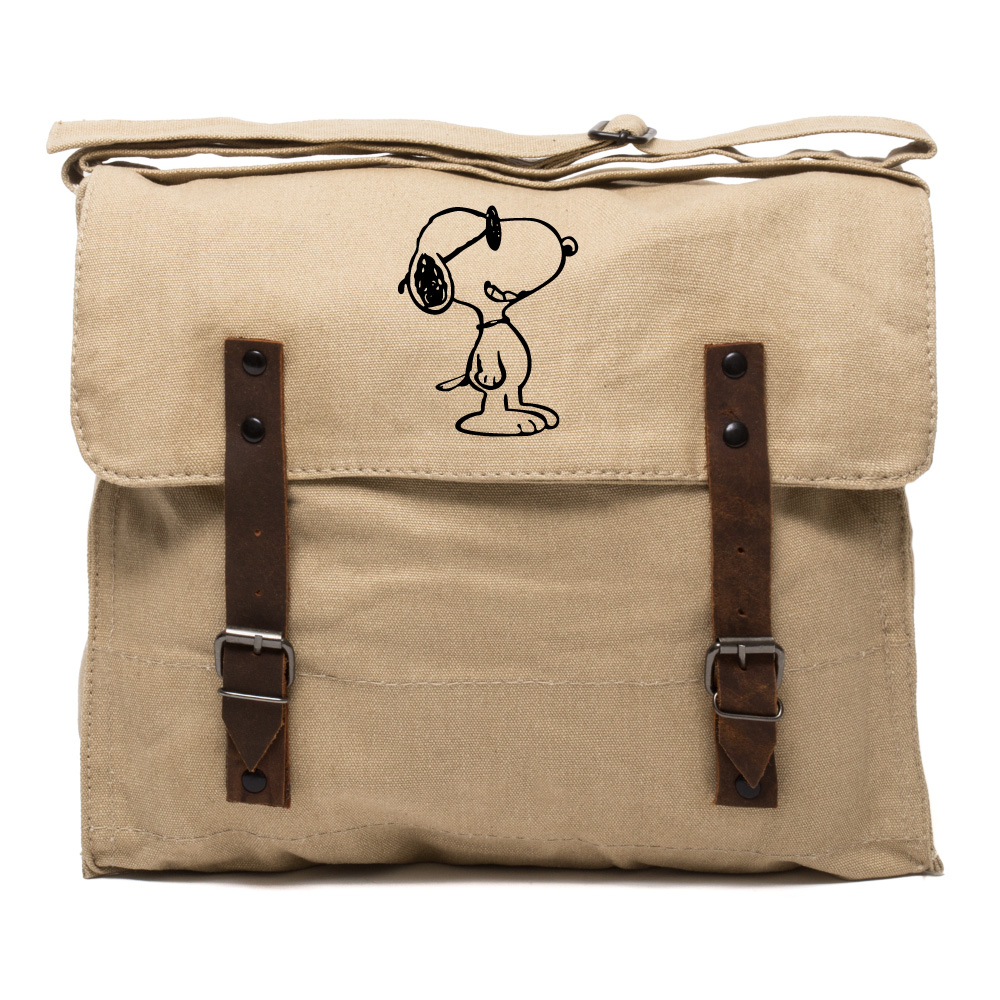 Happy Snoopy Army Heavyweight Canvas Messenger Shoulder Bag in Black