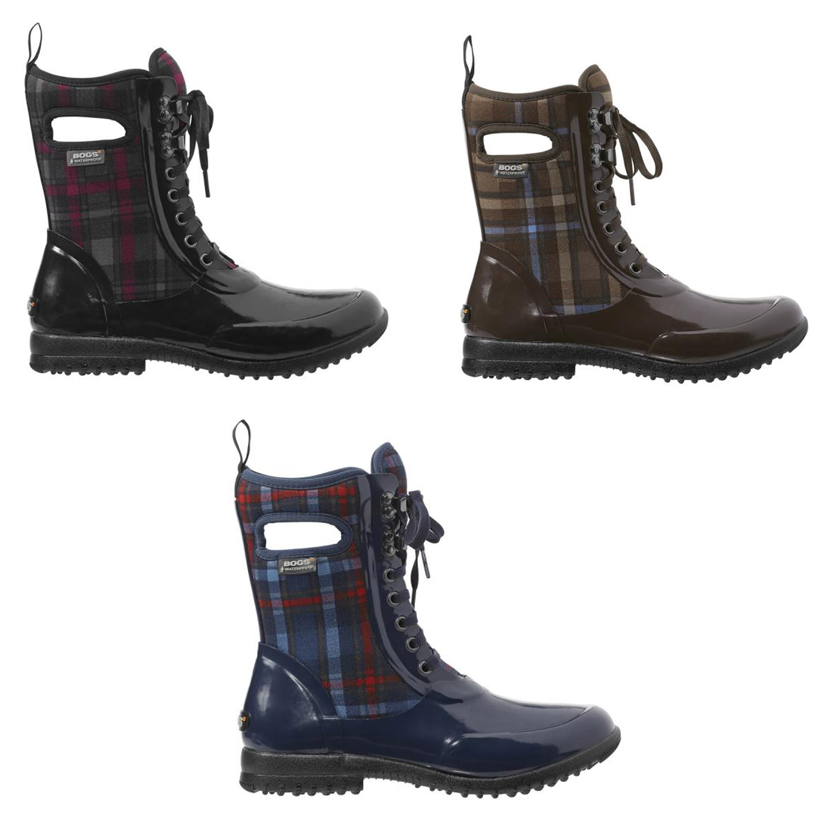 Bogs 71770 Women S Sidney Lace Up Wp Insulated Plaid Snow