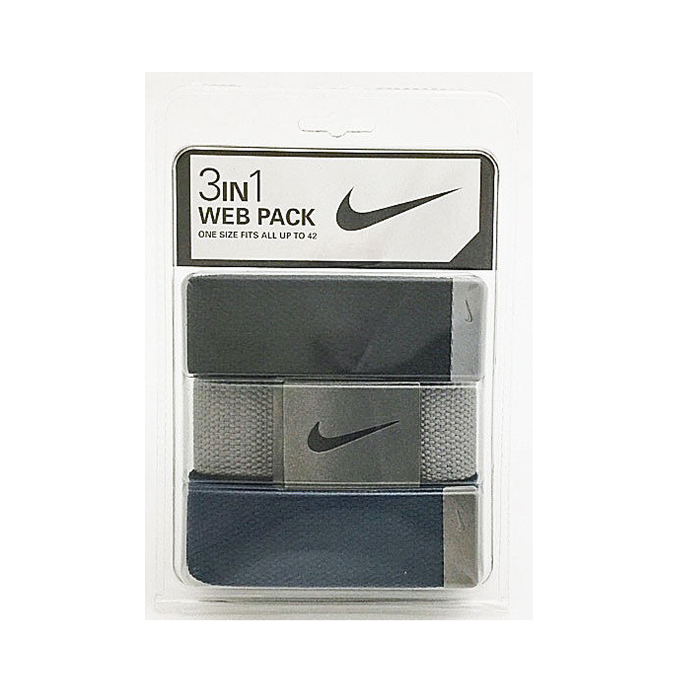 Nike Golf Men's 3 in 1 Web Pack Belts, One Size Fits Most - Select Colors! Black/Grey/Navy
