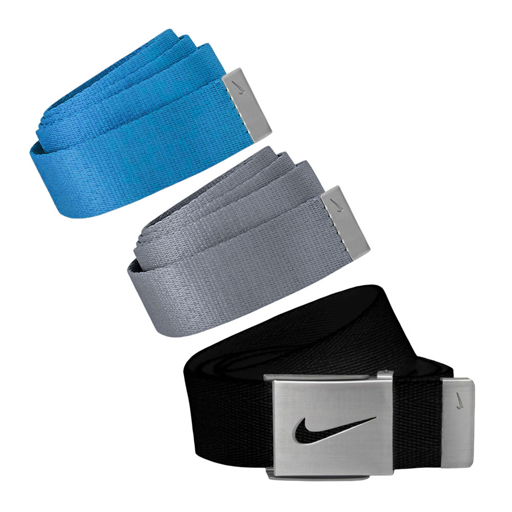 Nike Golf Men's 3 in 1 Web Pack Belts, One Size Fits Most - Select Colors! Black/Grey/Photo Blue