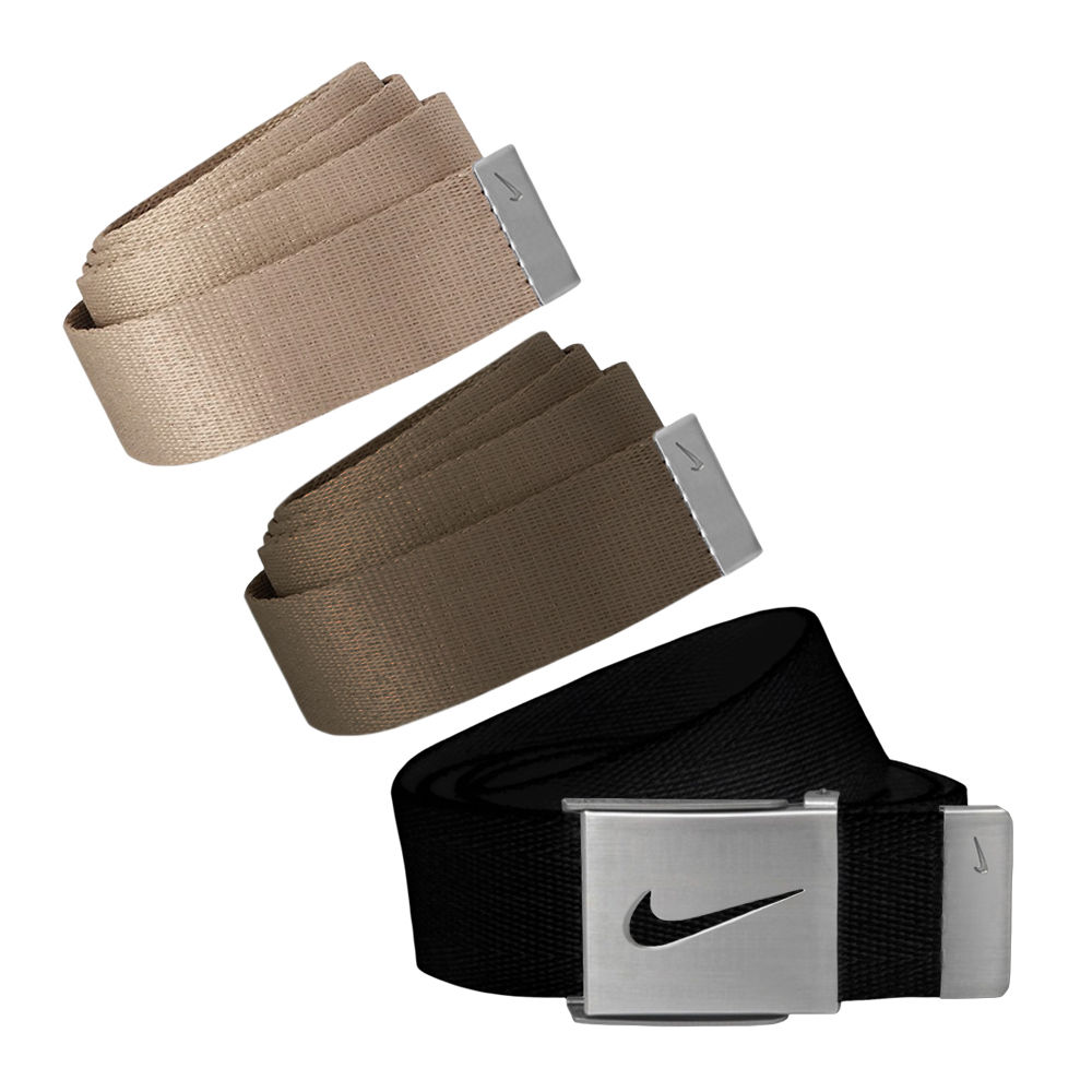 Nike Golf Men's 3 in 1 Web Pack Belts, One Size Fits Most - Select Colors! Black/Cargo Khaki/Khaki