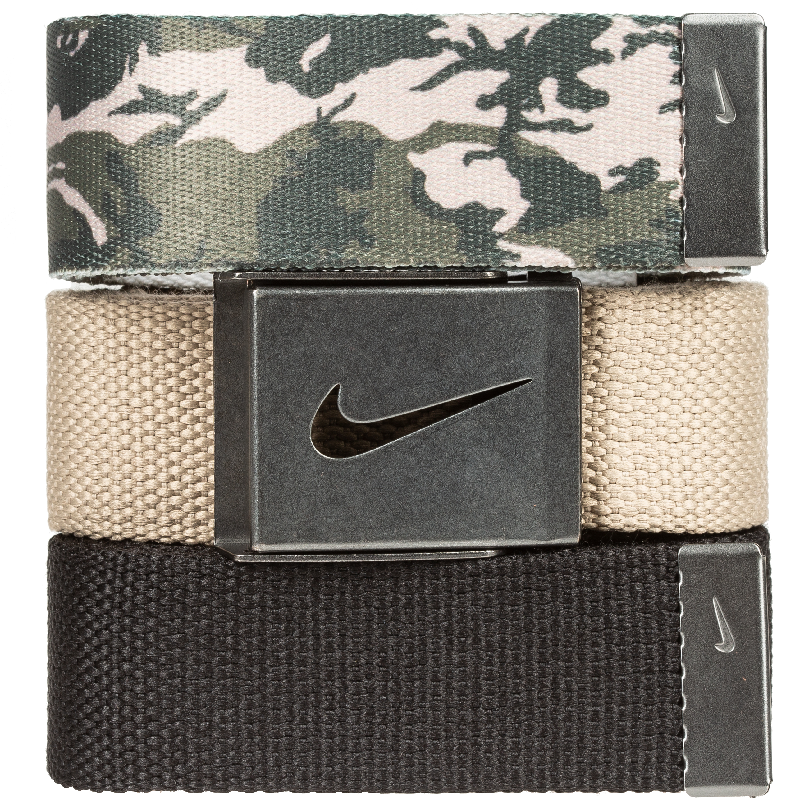 Nike Golf Men's 3 in 1 Web Pack Belts, One Size Fits Most - Select Colors! Cargo Khaki Camo/Khaki/Black