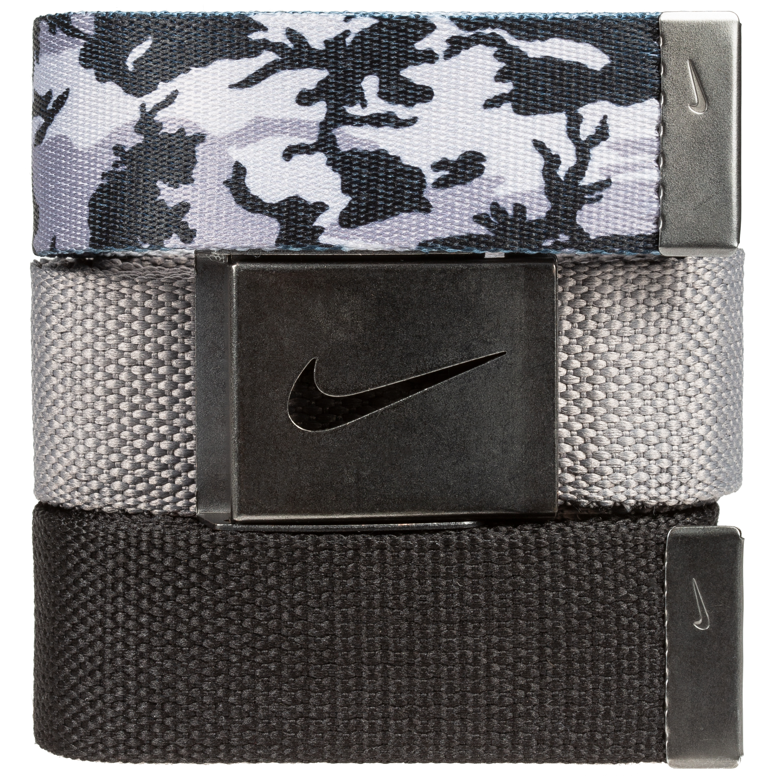 Nike Golf Men's 3 in 1 Web Pack Belts, One Size Fits Most - Select Colors! Black Camo/Grey/Black