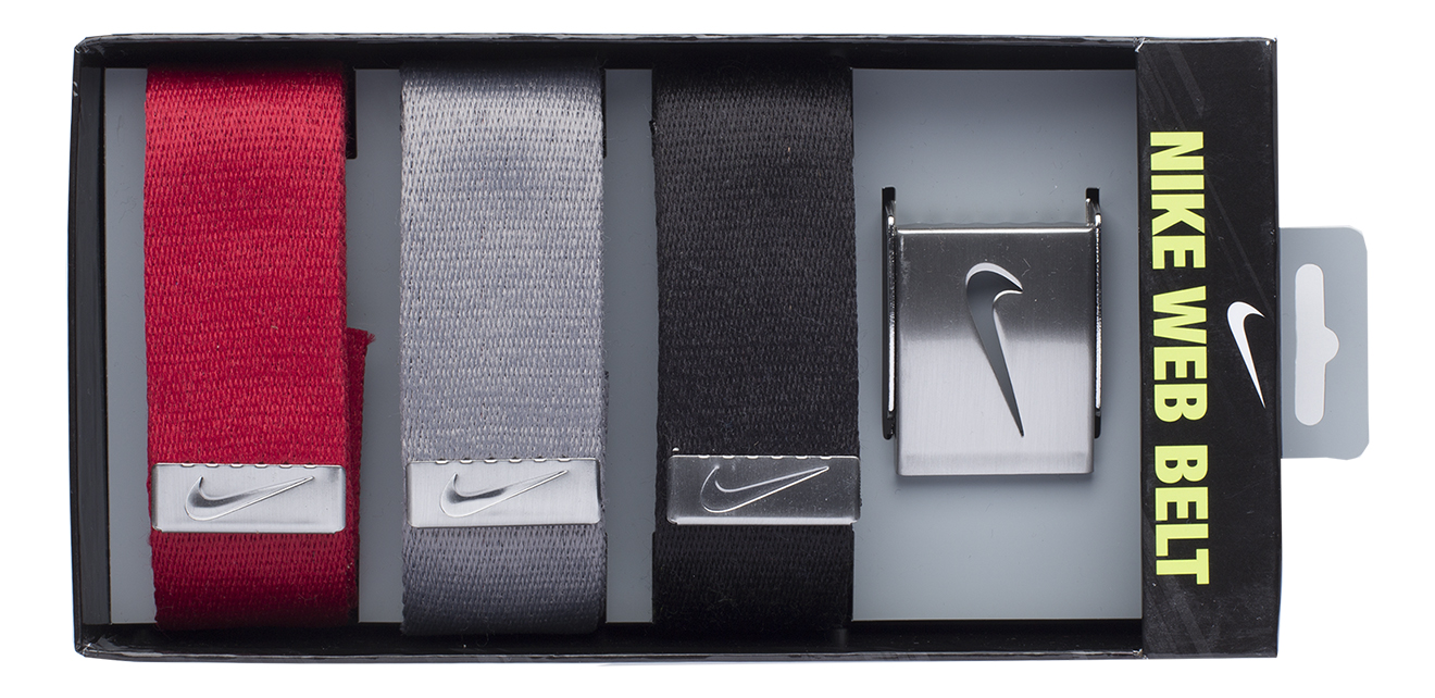 Nike Golf Men's 3 in 1 Web Pack Belts, One Size Fits Most - Select Colors! Black/Red/Grey