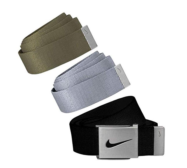 Nike Golf Men's 3 in 1 Web Pack Belts, One Size Fits Most - Select Colors! Black/Olive/Lite Grey