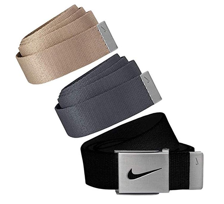 Nike Golf Men's 3 in 1 Web Pack Belts, One Size Fits Most - Select Colors! Black/Khaki/Dark Grey