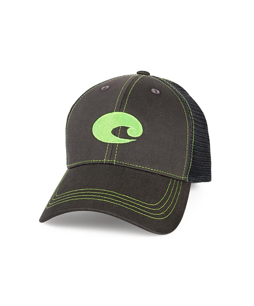 Costa Del Mar Neon Trucker Hat Graphite Green Velcro Closure Authentic OSFA 02fcb860ae0
