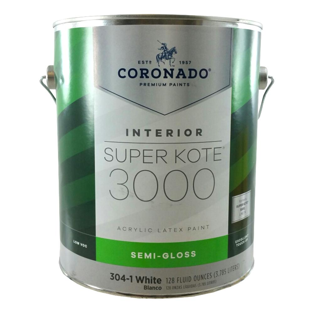 Details about Gallon Semi-Gloss White Super Kote 3000 Acrylic Latex Paint