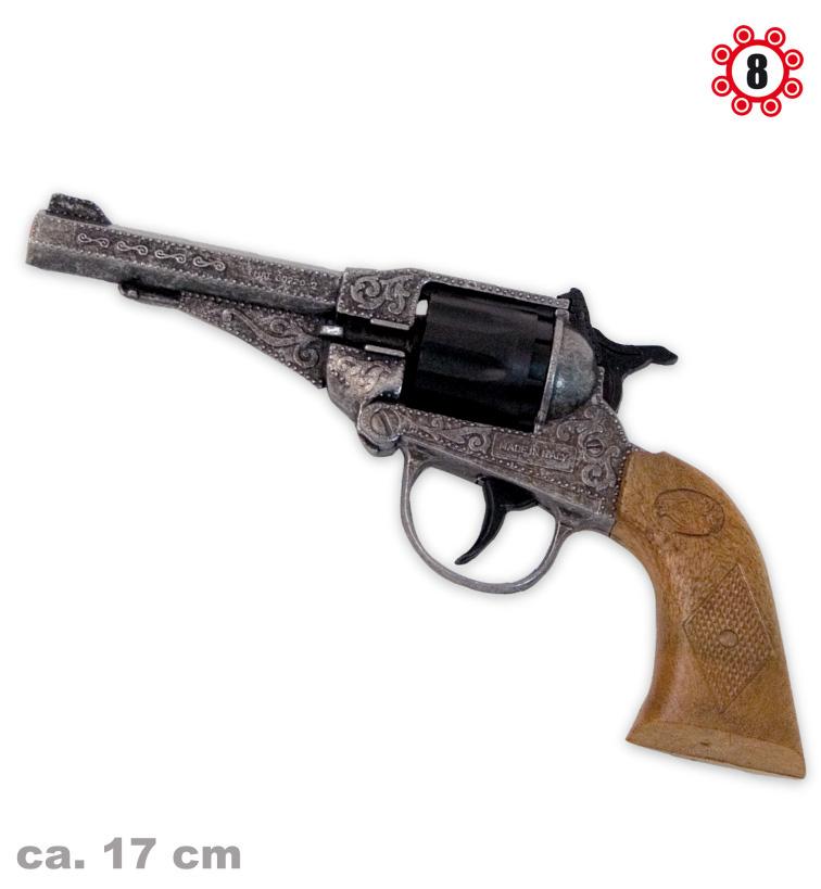 Revolver Sterling Metall Antik-Optik 8er Ringmunition Spielzeugpistole Cowboy