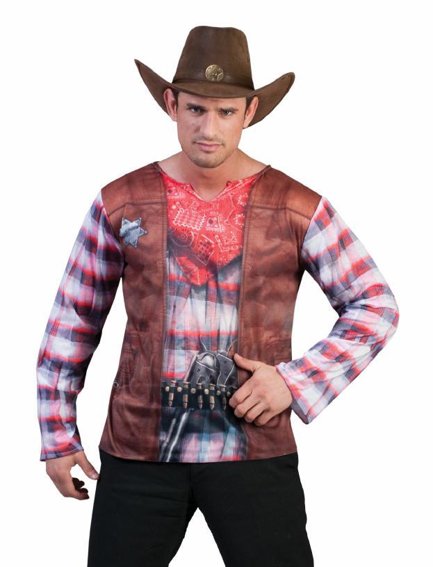 Disfraz camiseta 3 D Sheriff para hombre | Camisetas