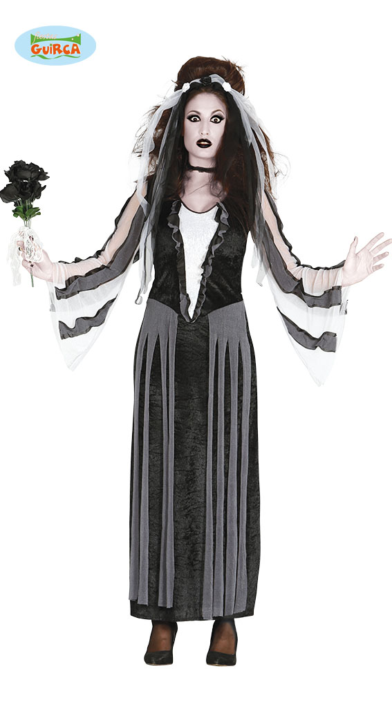 Ghostly Bride Zombie Ladies Fancy Dress Halloween Undead Womens Adults Costume
