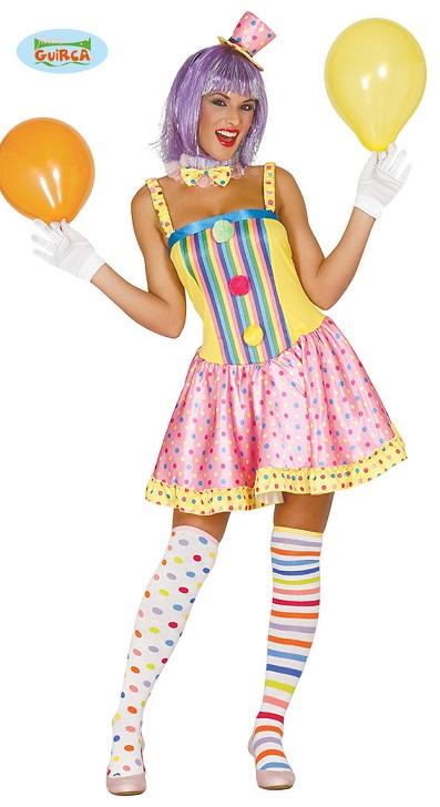 Buntes Clown Kostüm für Damen Karneval Fasching Party Geburtstag Lustig Zirkus