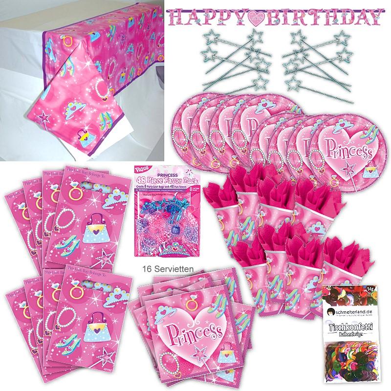 Prinzessin Princess Kinder Party Set XL 103-teilig 8 Gäste Prinzessinparty Deko