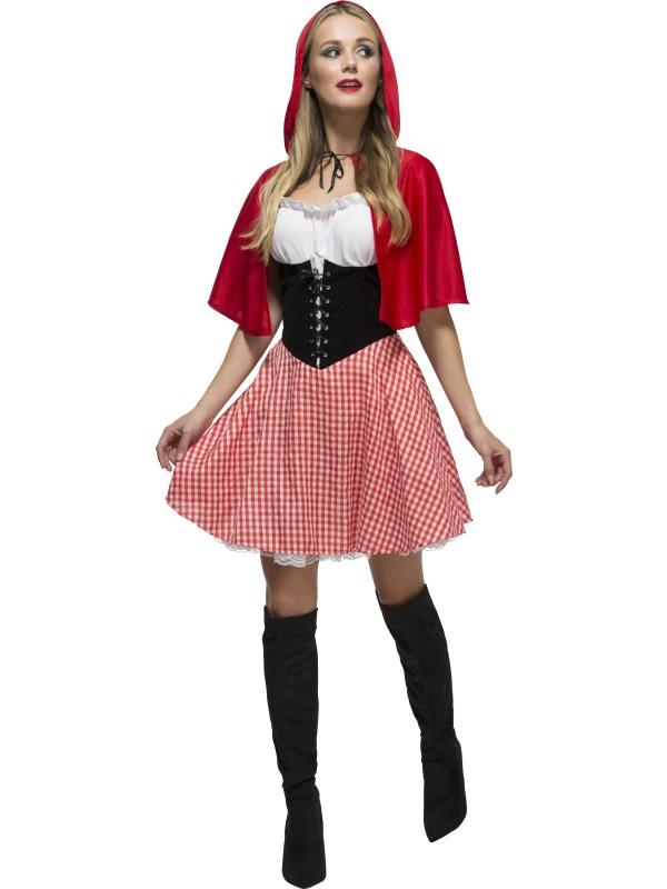 Gli adulti Corto Cappuccetto Rosso Cape Mantello /& Cappuccio Favola Costume UK