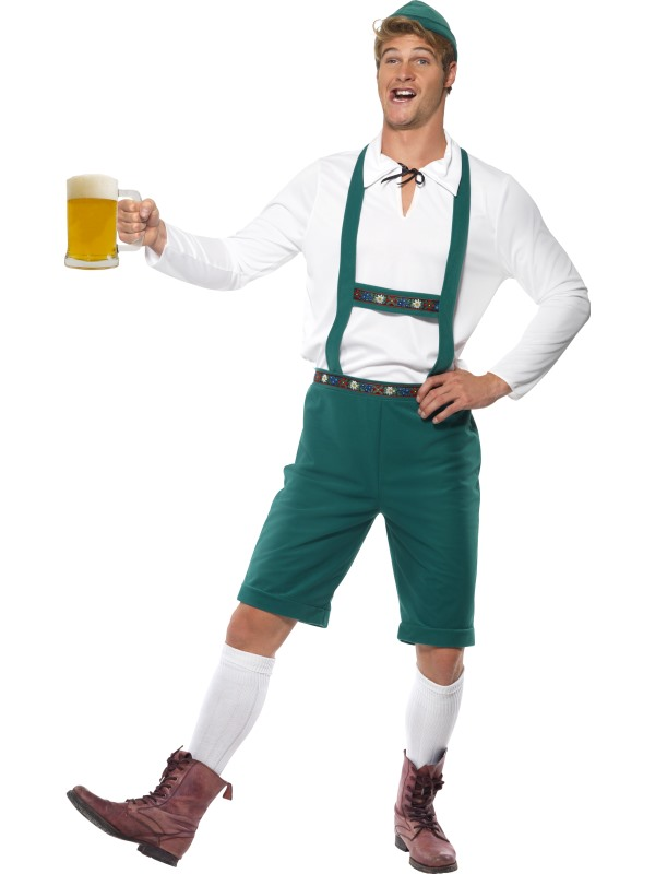 "44/"" waist  Octoberfest Lederhosen Swiss Boy Trousers Shorts Green  XL 40/"""