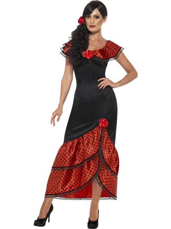 J10 Spanish Mexican Flamenco Senorita Dancer Can Can Saloon Fancy Dress Costume
