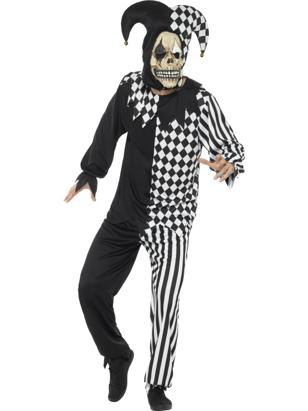 CL15 Sinister Jester Adult Black Red Evil Jester Halloween Adult Party Costume