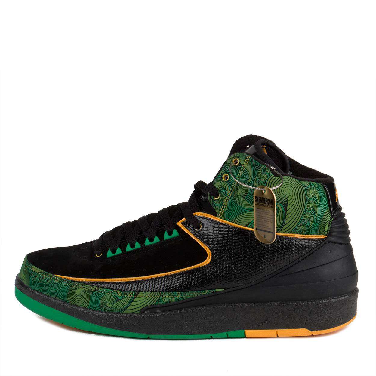 0e1fbee15fdf0e Nike Mens Air Jordan 2 Retro High DB Doernbecher Black Gold-Green 318304-071