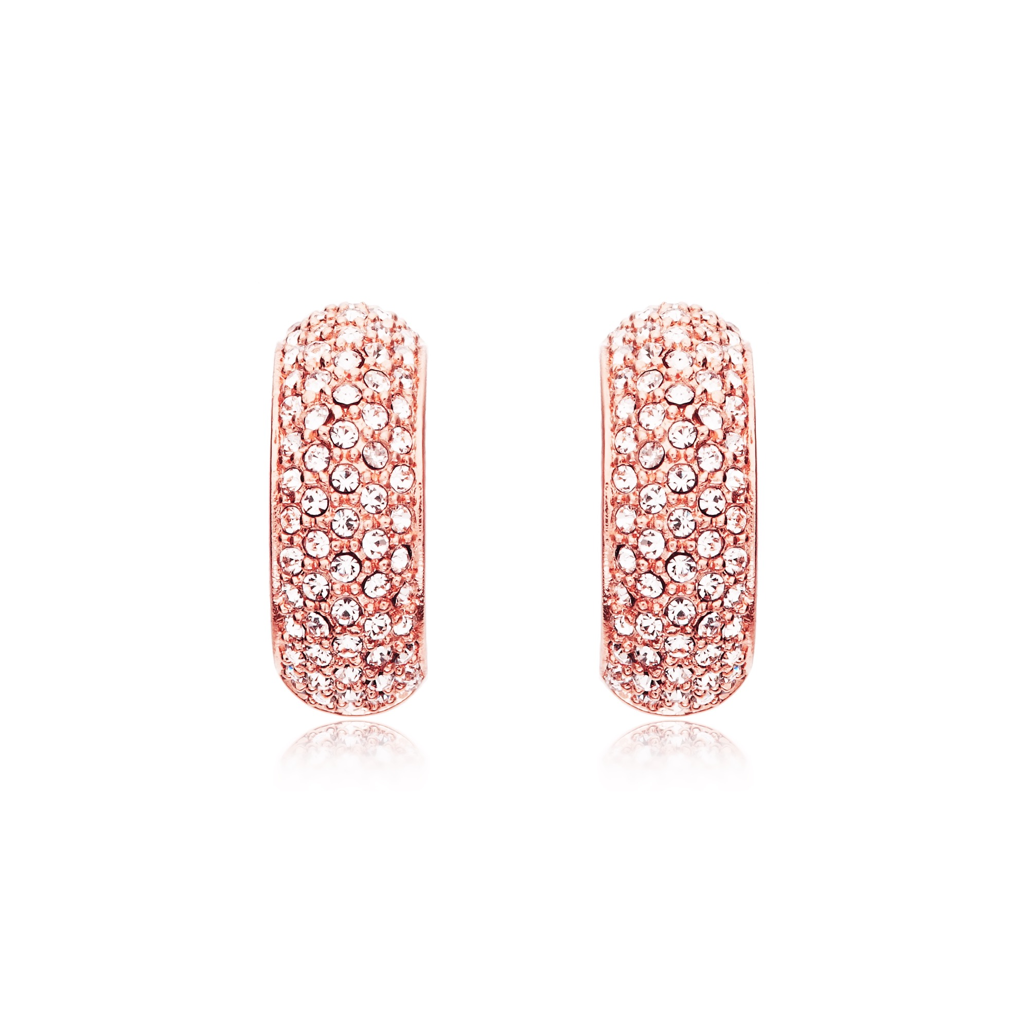 MYJS Stone Palace Swarovski Crystals Pave Hoop Earrings Rose Gold ...