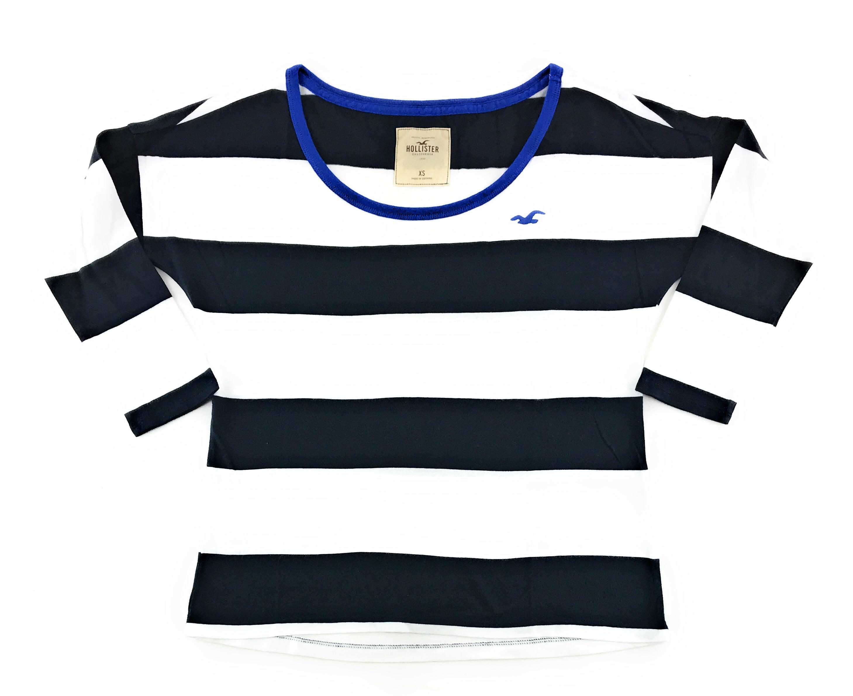67f1684e9d0ab Hollister Womens T-Shirt Tee Embroidered Logos Long Three Quarter Sleeve