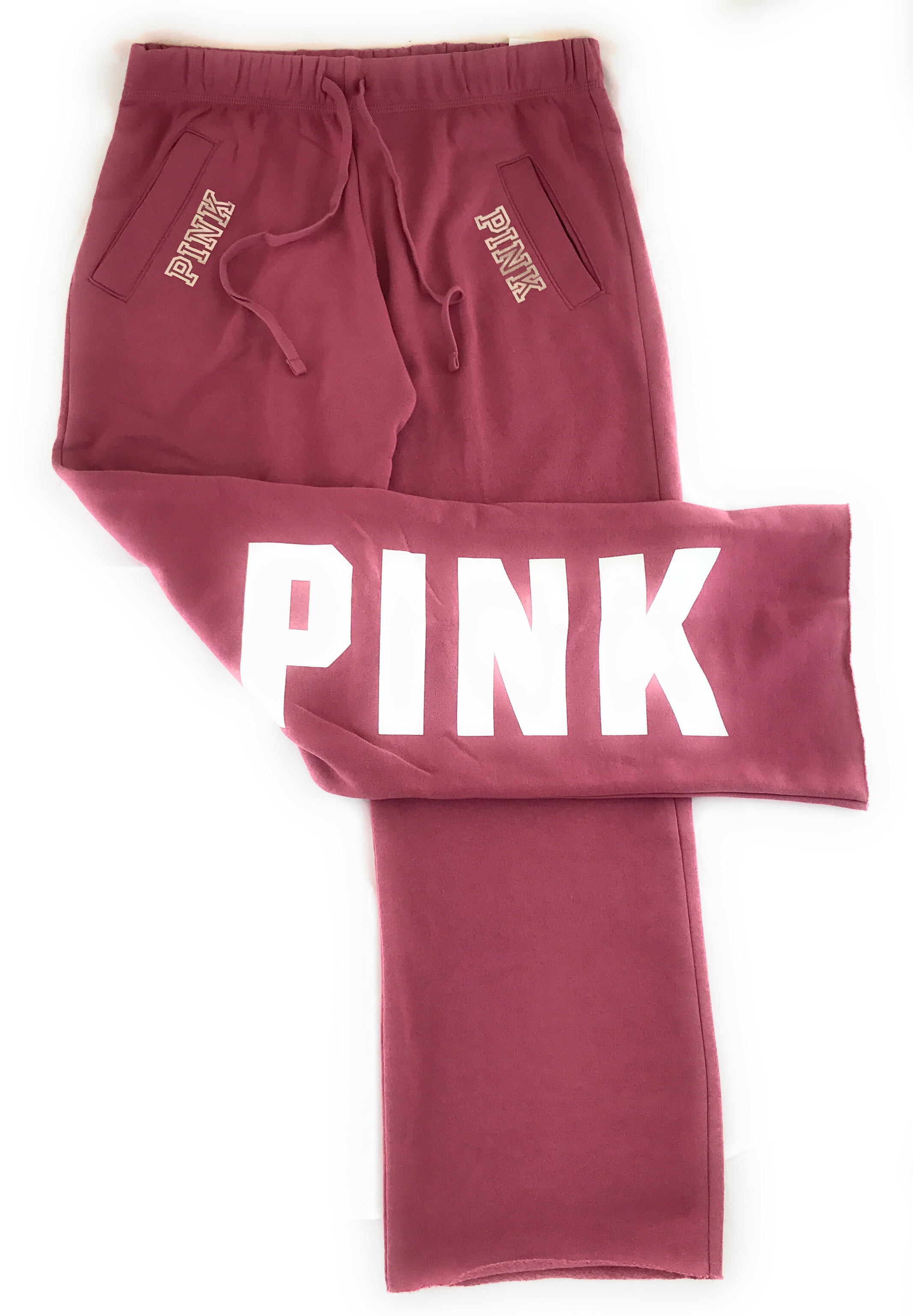 Popular VICTORIA'S SECRET PINK BOYFRIEND SWEAT PANT SWEATS POCKETS PRINTED  IQ03