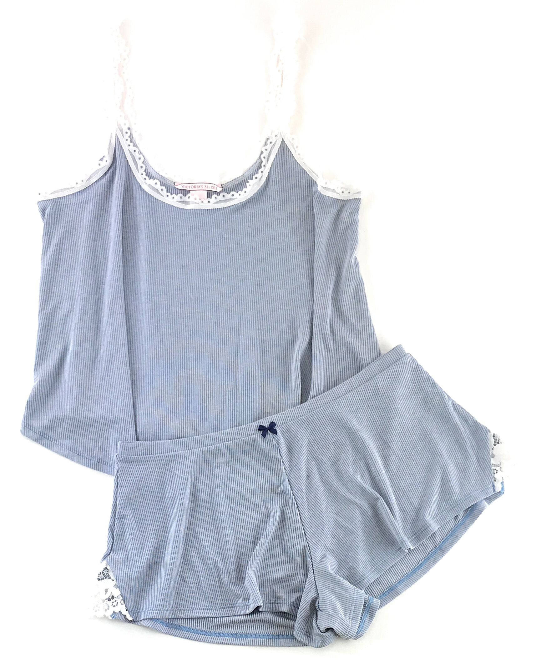 aa86fcf0761794 Victoria s Secret Pajamas Set PJs 2 Piece Ribbed Sleep Cami Tank and Shorts