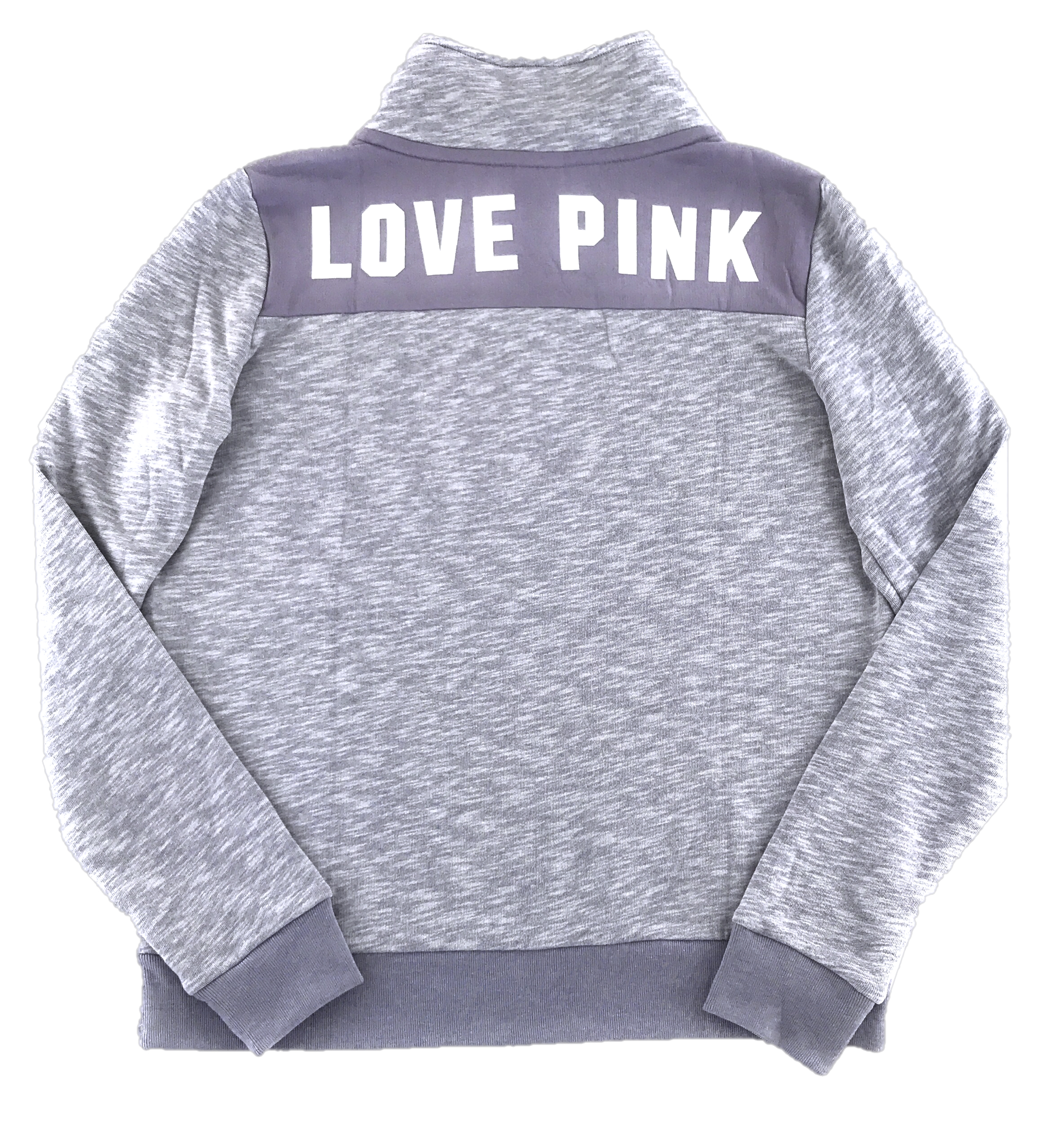 f3a0bbab Victoria's Secret Pink Quarter Zip Sweatshirt Hoodie Patch Marled ...
