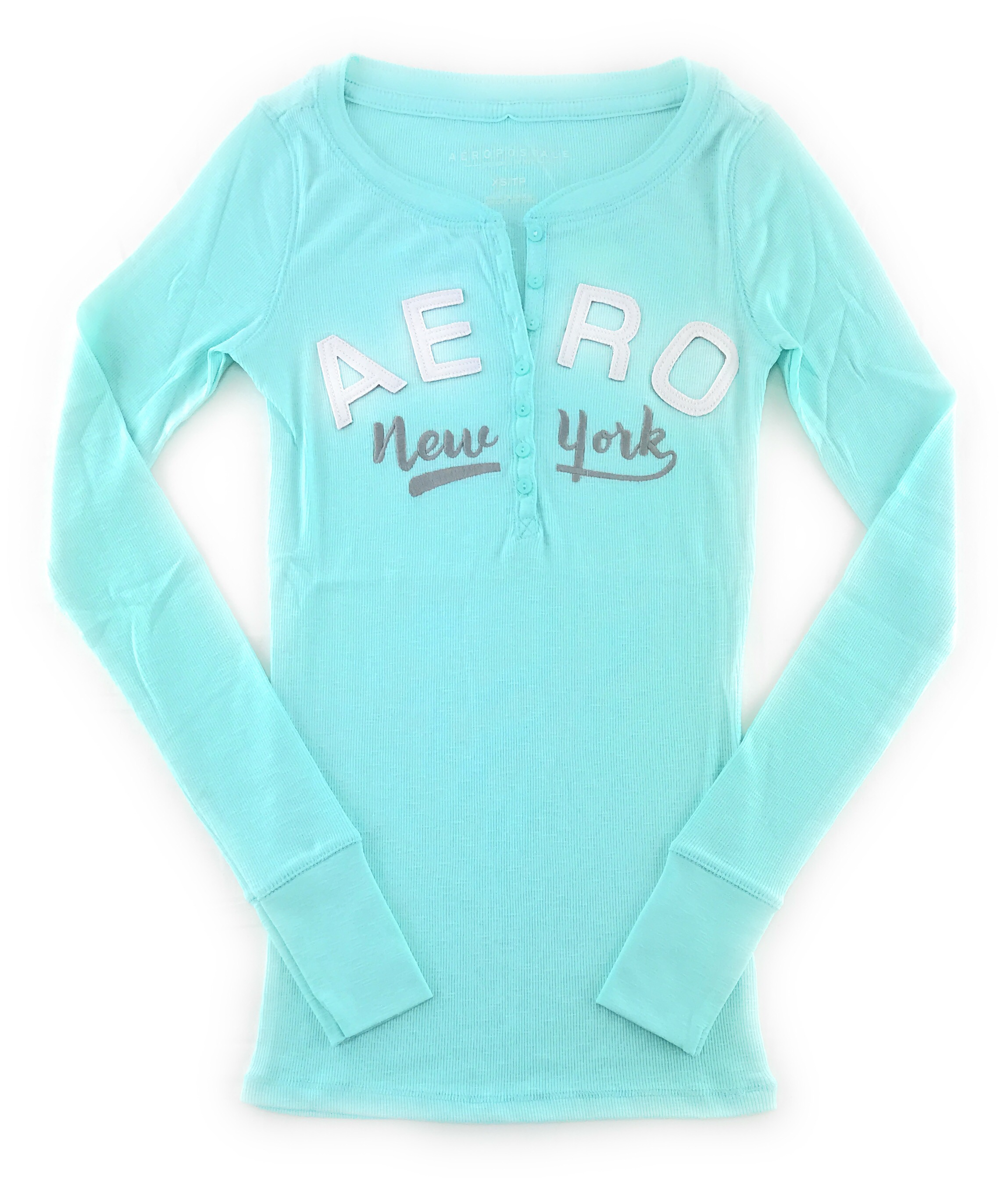 AEROPOSTALE-WOMENS-LONG-SLEEVE-HENLEY-T-SHIRT-BUTTONS-APPLIQUE-EMBROIDERED-LOGO thumbnail 4