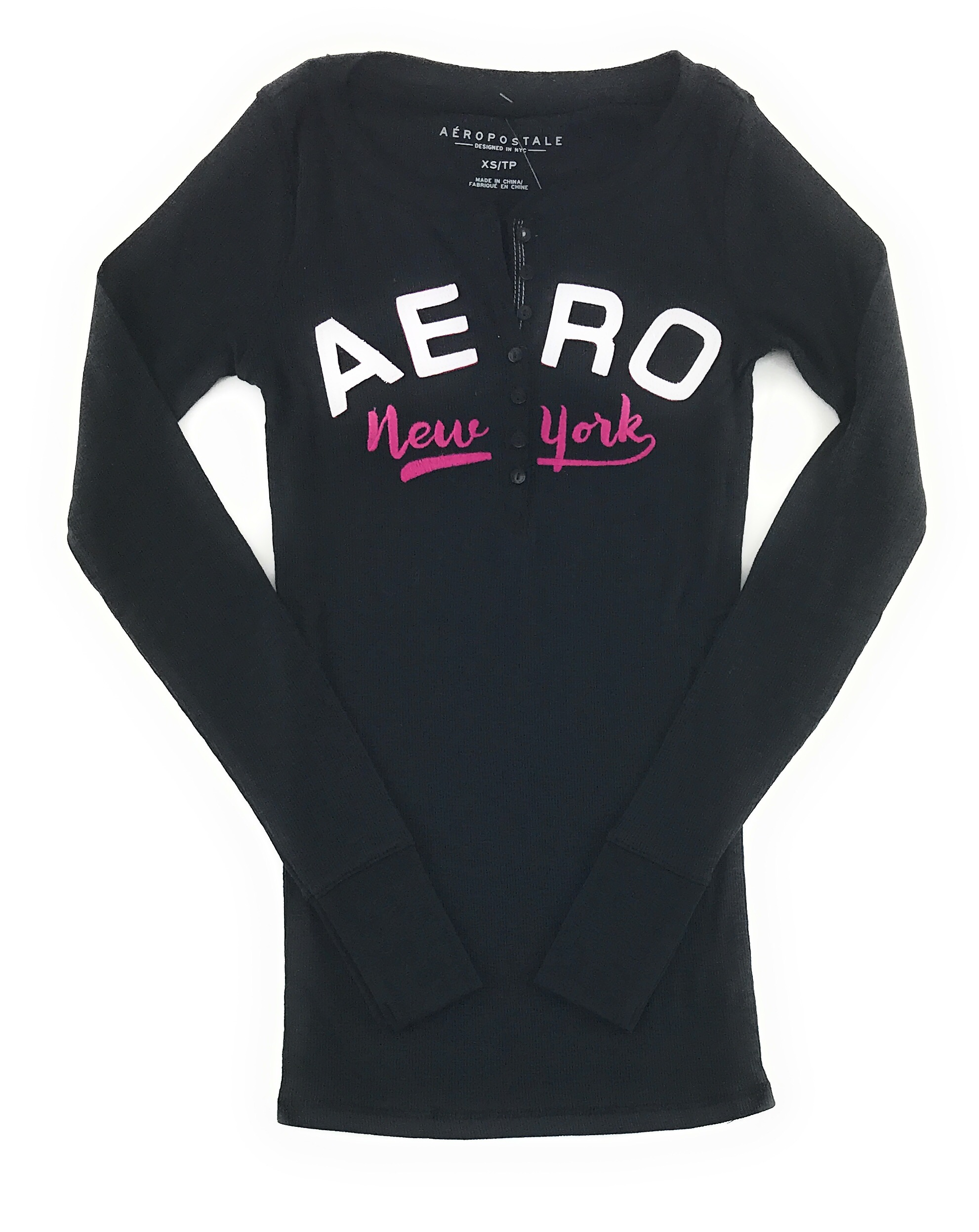 AEROPOSTALE-WOMENS-LONG-SLEEVE-HENLEY-T-SHIRT-BUTTONS-APPLIQUE-EMBROIDERED-LOGO thumbnail 6