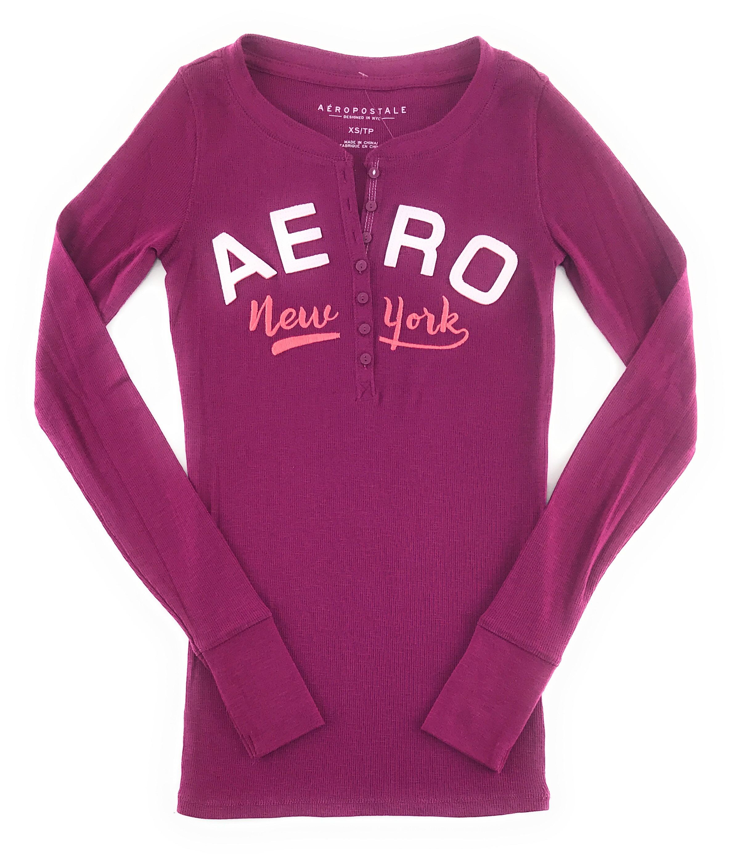 AEROPOSTALE-WOMENS-LONG-SLEEVE-HENLEY-T-SHIRT-BUTTONS-APPLIQUE-EMBROIDERED-LOGO thumbnail 12