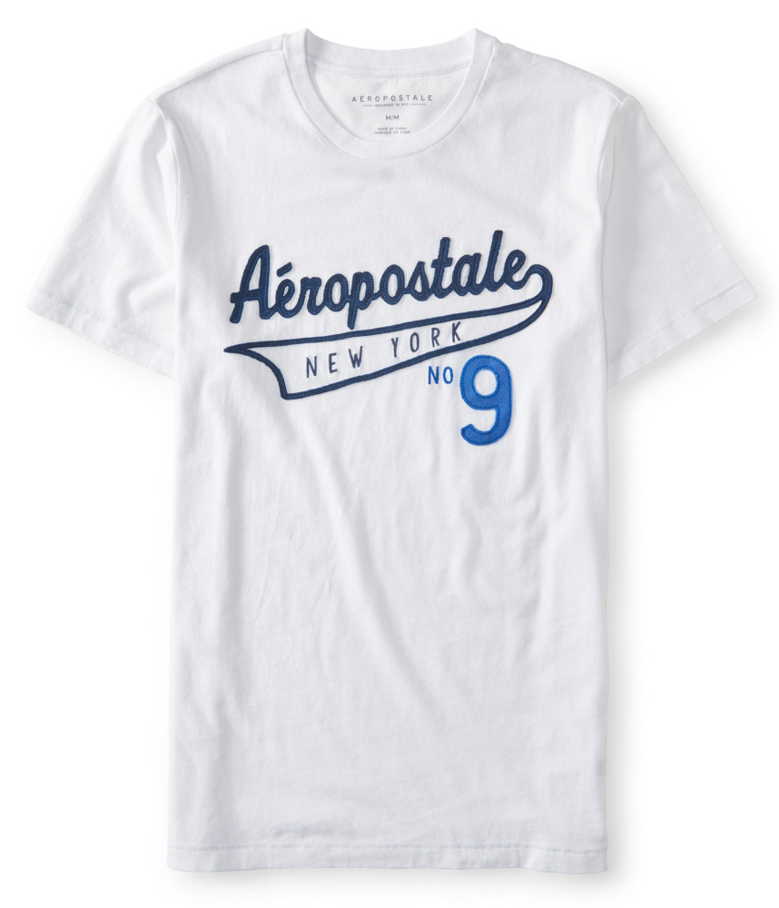 Aeropostale Mens T Shirt Logo Graphic Tee Shirt Embroidered Applique