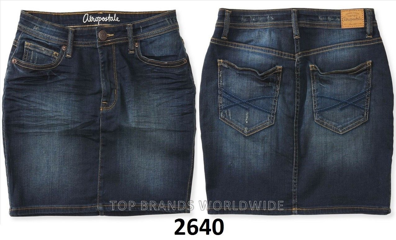 effe9d9d43 AEROPOSTALE WOMENS DENIM SHORTS SHORTY BERMUDA JEAN SKIRT MIDI ALL ...