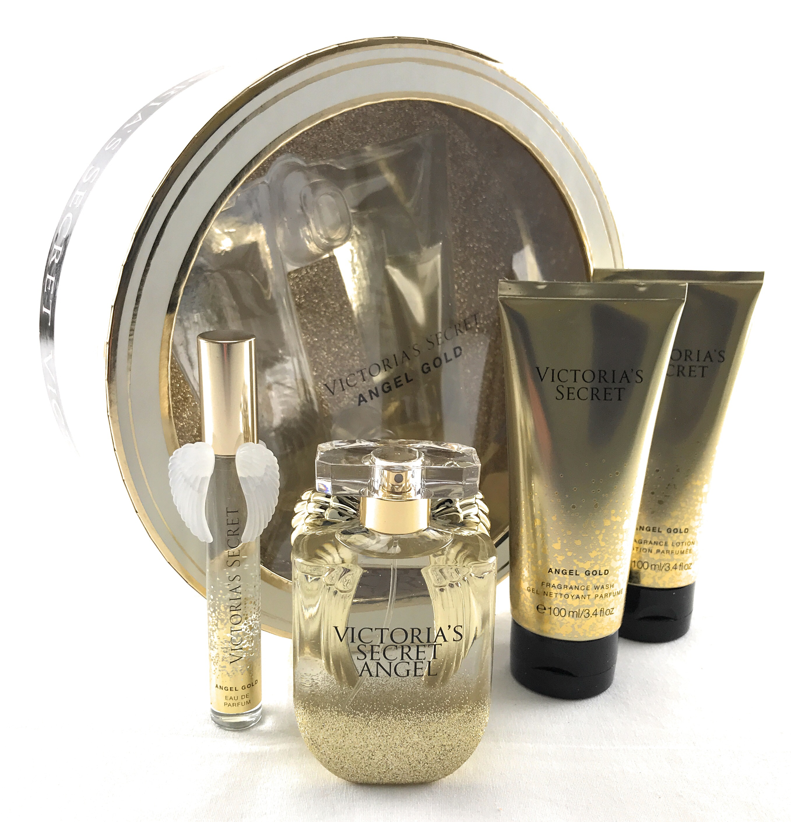 c01cb8c9721 Victoria s Secret Angel Gold Gift Set Box 4 Piece 1.7oz Perfume Wash Lotion