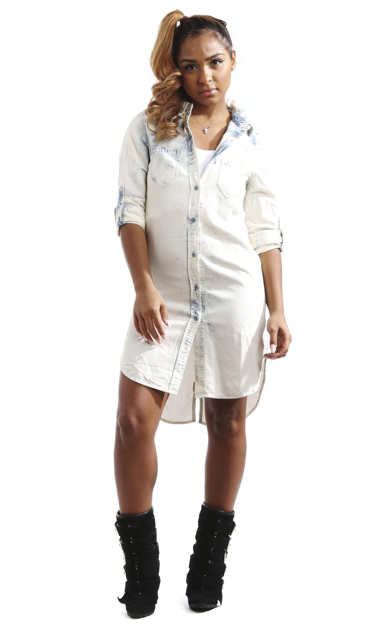 Soho Babe Junior s Long Sleeve Washed Denim Shirt Dress M Light Blue