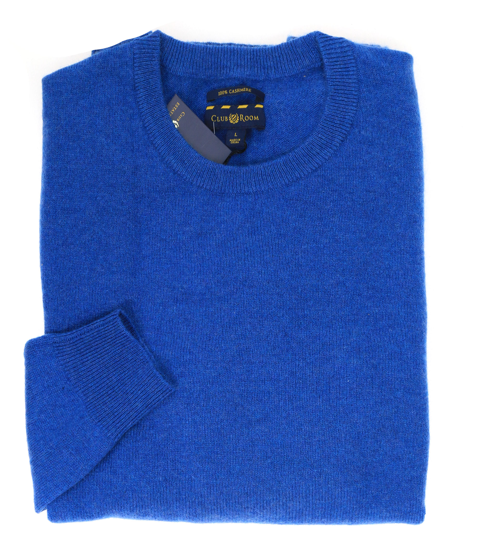 Club Room Heather Blue Mens Size Large L Crewneck Cashmere Sweater ...