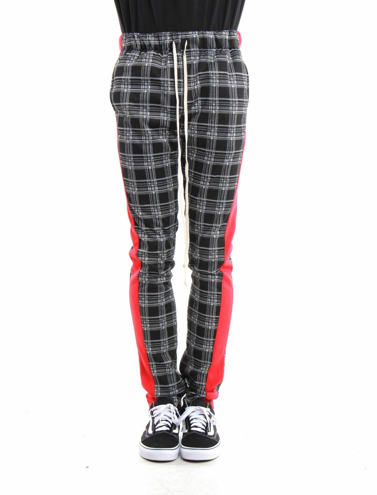 Eptm Men S Ankle Zip Long Drawstring Side Stripe Plaid