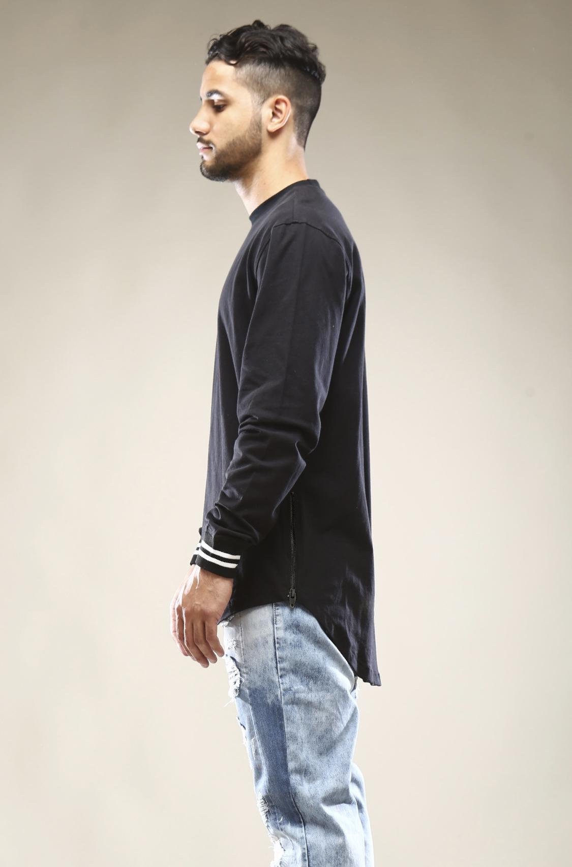 9f418062 Smoke Rise Men's Scalloped Longline Side Zippers Long Sleeve T Shirt ...