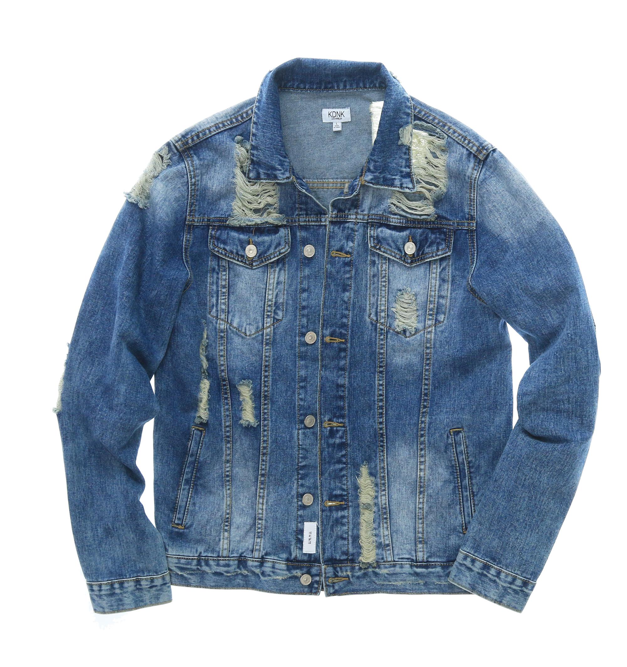 29a4334f5fcd KDNK Men s Distressed Denim Jacket
