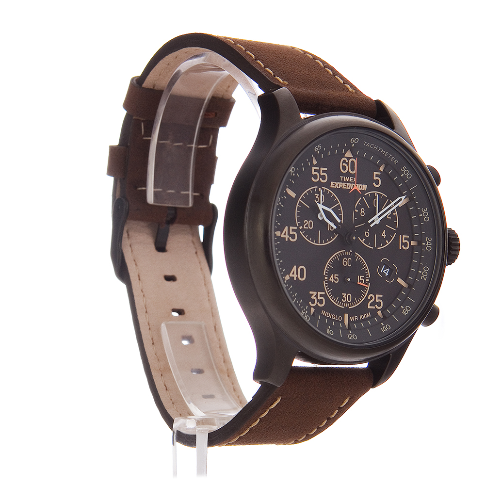 Timex men 39 s expedition brown leather strap field chronograph watch t49905 ebay for Leather strap watches