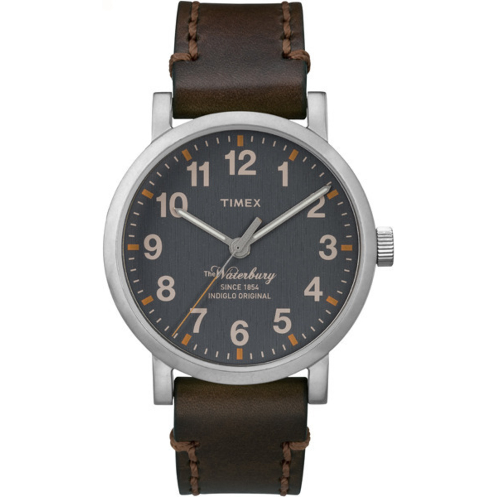 Timex Men's Waterbury Brown Leather Strap Blue Dial Casual W