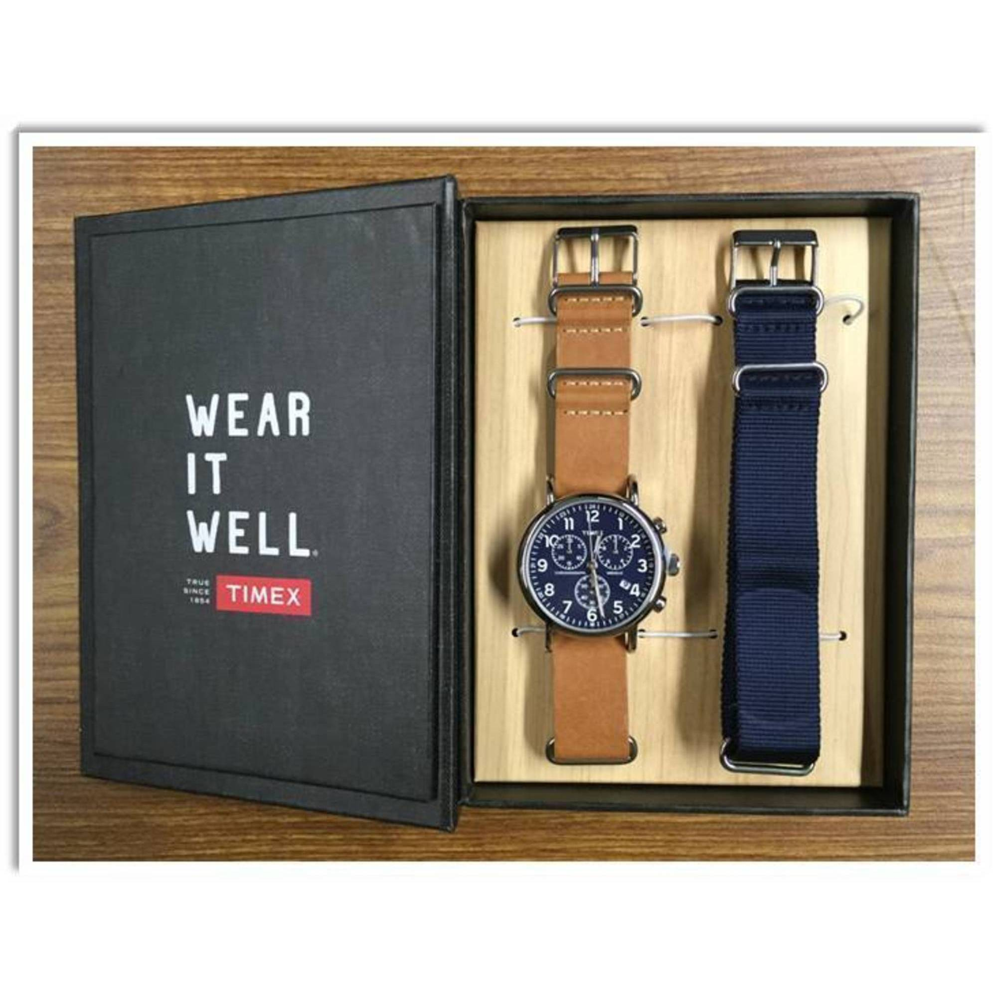 35c74e5c5 Image is loading Timex-Weekender-Chronograph-40mm-Leather-Strap-Watch-Gift-