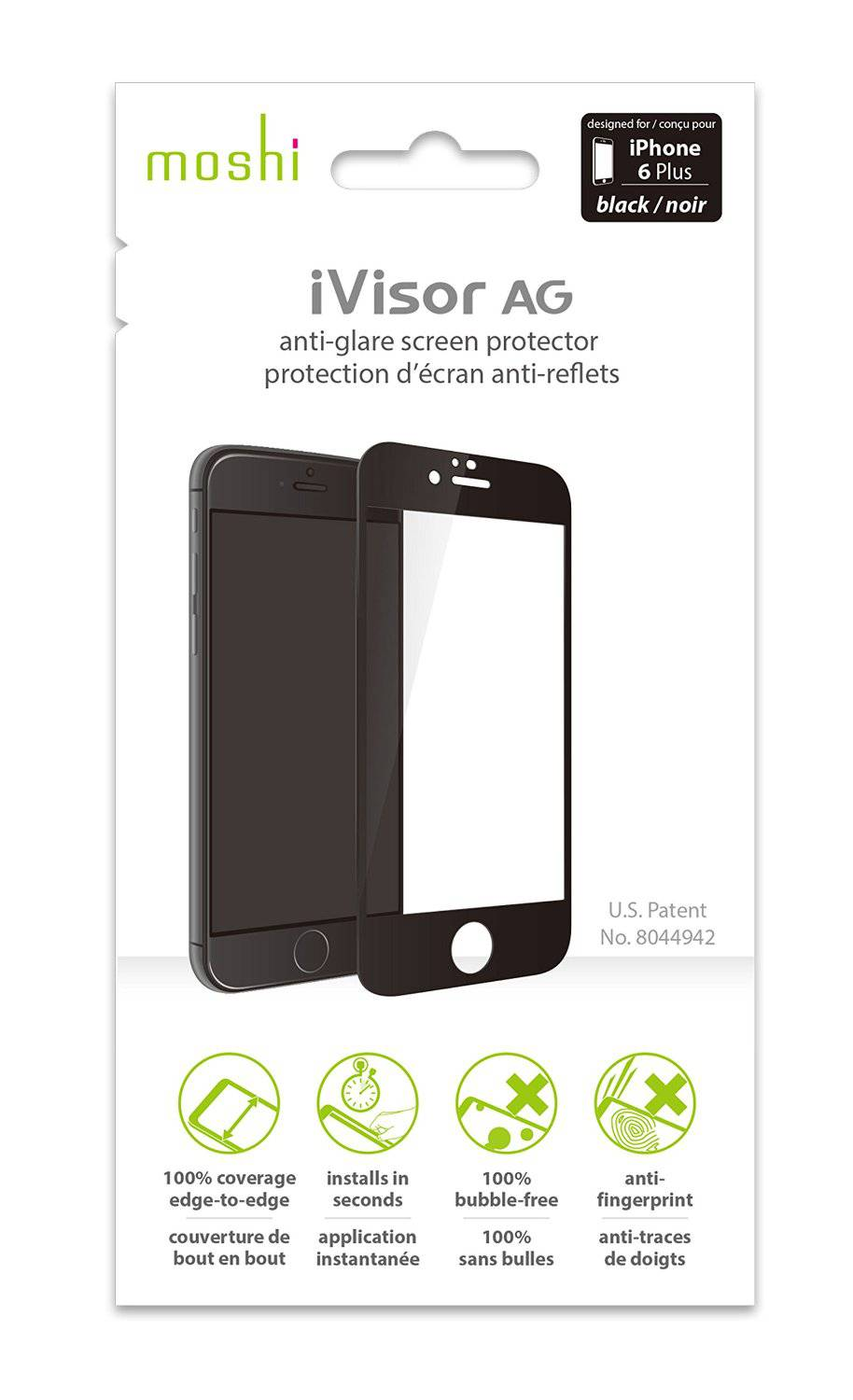 designer fashion c7ede c043f Details about New OEM Moshi iVisor AG Black Screen Protector For iPhone 6  Plus/6s Plus
