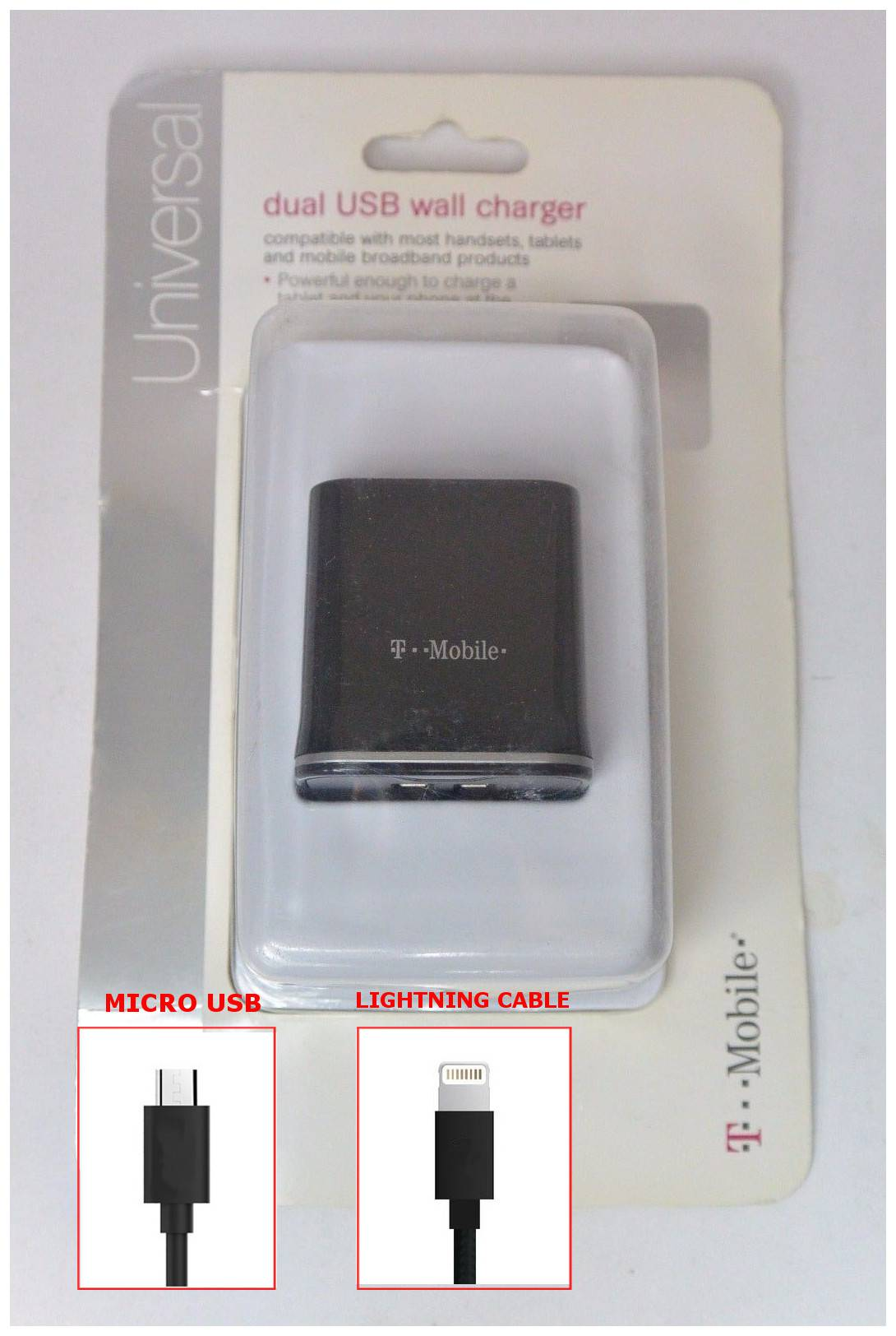 T Mobile 3a Fast Dual Usb Wall Charger Micro Lightning Cable Kabel Baseus Travel Storage Grey 3amp With Will Include 1x Extra Generic For Iphone 5 6 7 8