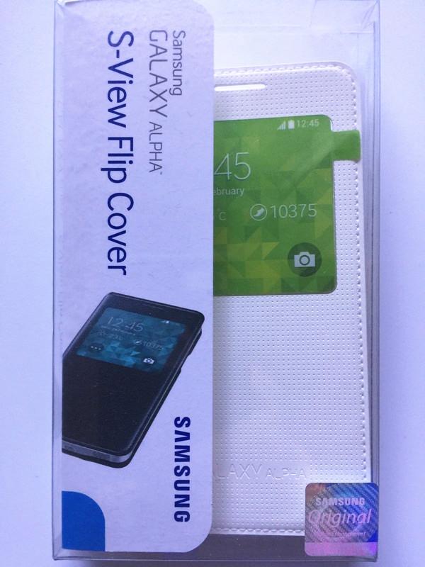 best service df285 9c400 Details about New OEM Samsung S-View Flip White Case For Samsung Galaxy  Alpha