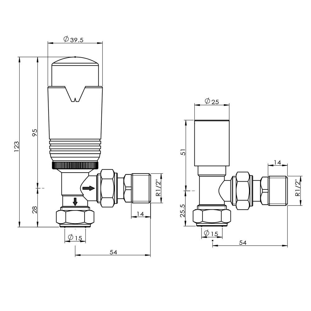"Thermostatic Manual TRV Radiator Valves 1//2/"" x 15mm Angled Straight Rad Valve"
